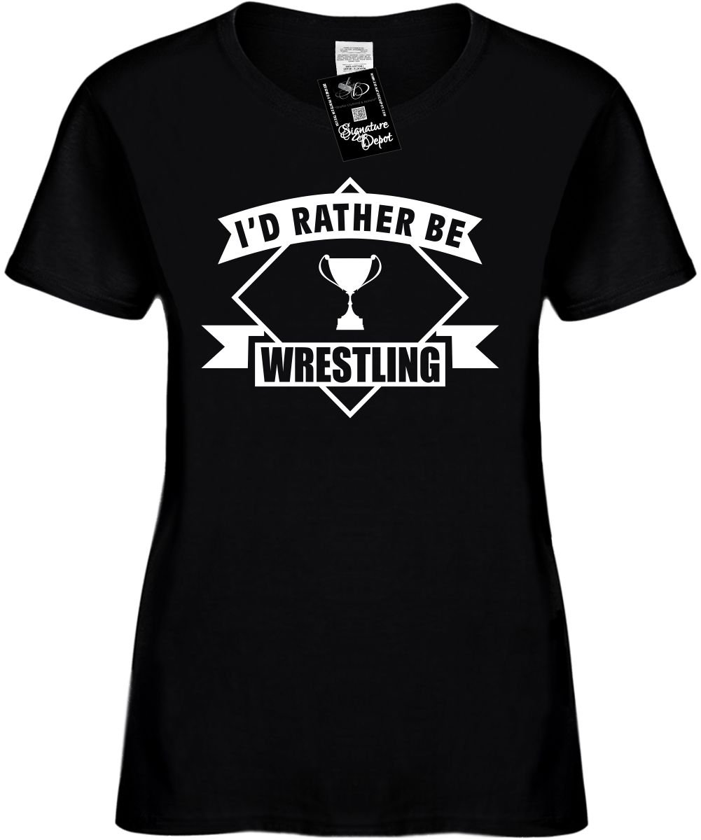 Women's Size 3X Funny T-Shirt (I'd Rather be Wrestling w/banner) Ladies Shirt