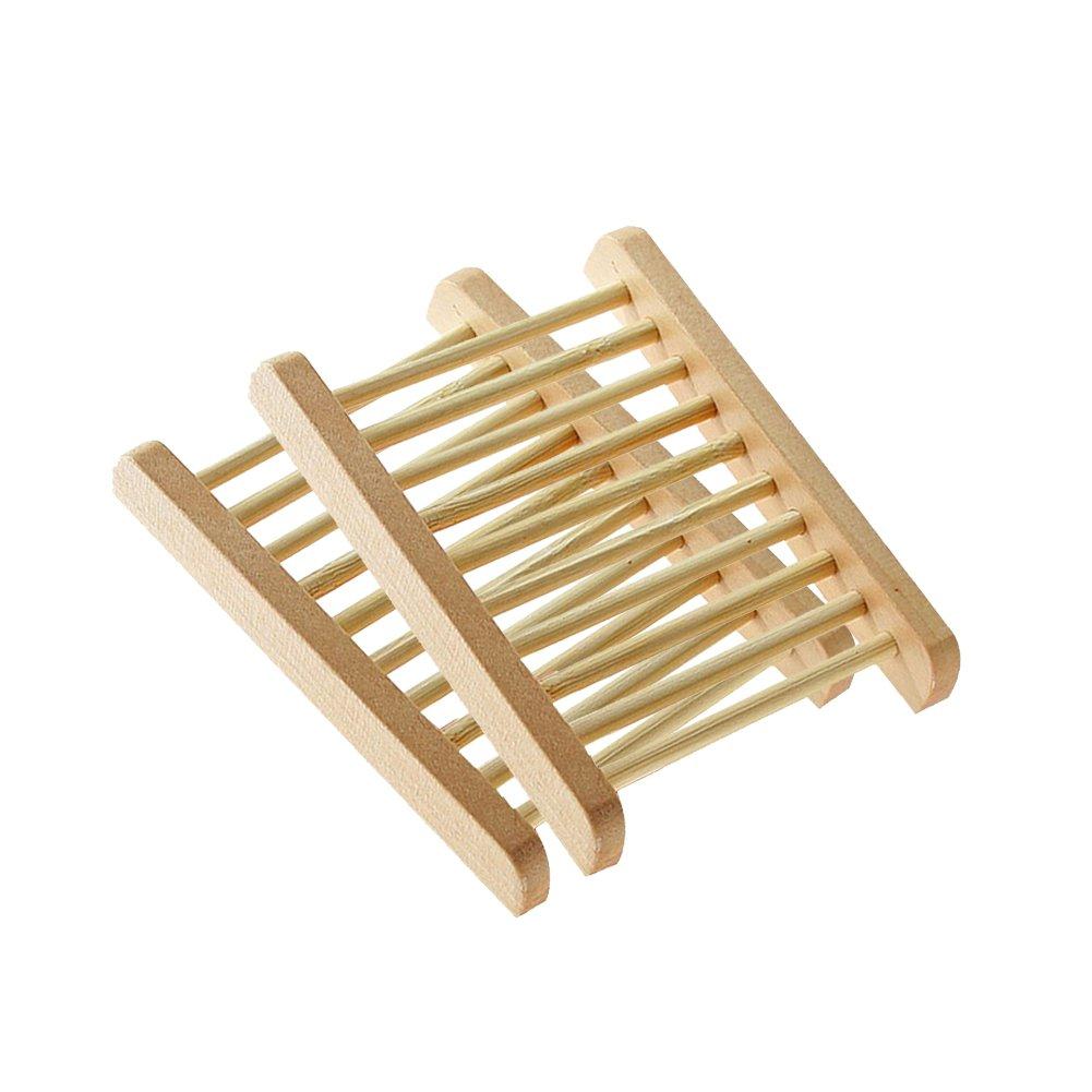 Doitsa 1pcs jabonera de madera hecho a mano jabonera de madera caja de jabón de baño color de madera