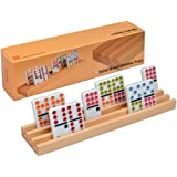Premium Beechwood Domino Racks/Trays - Set of 4, Perfect for Dominoes, Mexican Train & Chickenfoot