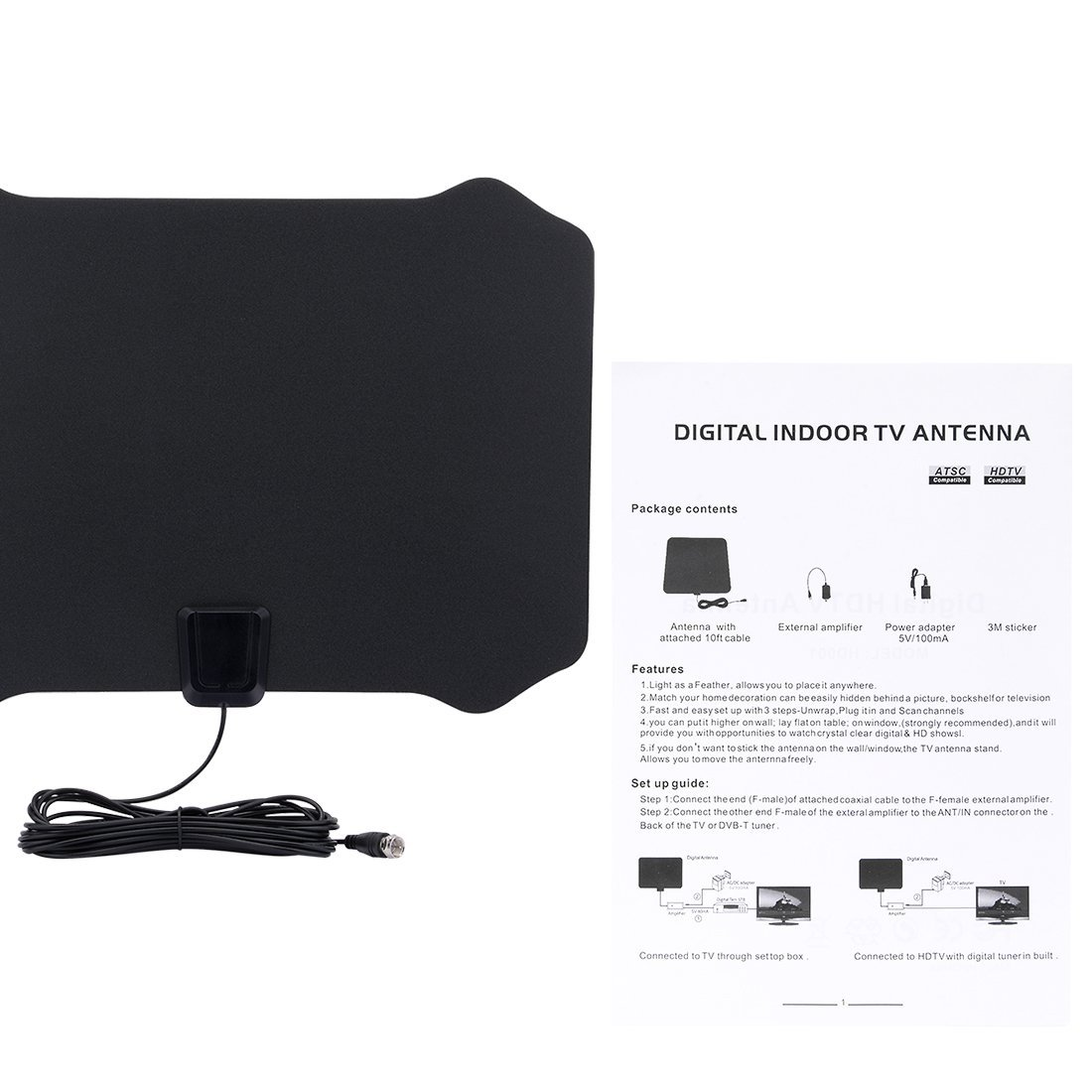 Amazon.com: DealMux Amplified HDTV Antenna - 50 Mile Gama com Amplificador destacável USB Power Supply: Home Audio & Theater