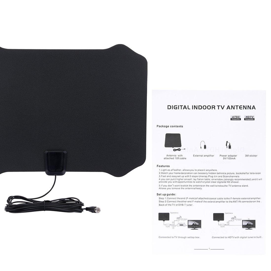Amazon.com: DealMux Amplified HDTV Antenna - 50 Mile Gama com Amplificador destacável USB Power Supply: Home Audio & Theater