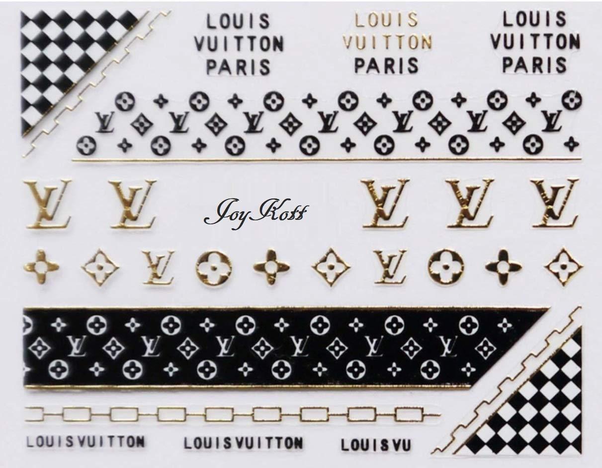 3D Luxury Brand Nail Art Stickers (LV, Gold2) by JoyKott