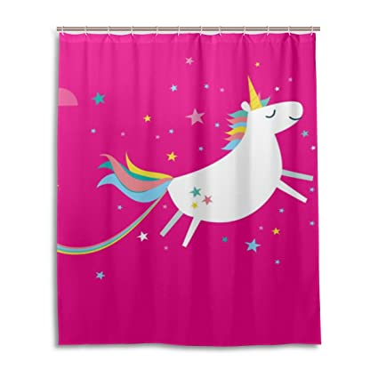 Amazon ALAZA My Daily Rainbow Unicorn And Stars Shower Curtain