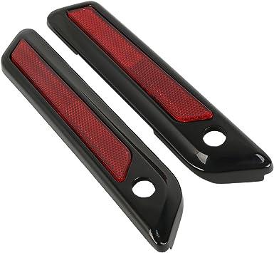 Black Hard Saddlebag Latch Cover+Red Reflectors For Harley 14 15 16 Touring Part