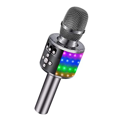 BONAOK Wireless Bluetooth Karaoke Microphone with Controllable LED Lights, Portable Handheld Karaoke Speaker Machine Christmas Birthday Home Party for Android/iPhone/PC or All Smartphone(Space Gray): Musical Instruments