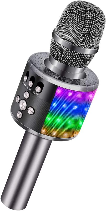 BONAOK Wireless Bluetooth Karaoke Microphone with Controllable LED Lights, Portable Handheld Karaoke Speaker Machine Christmas Birthday Home Party for Android/iPhone/PC or All Smartphone(Space Gray)