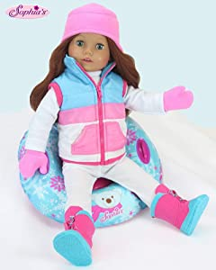 18 Inch Doll Clothes Winter Outfit Accessory 4 Pc. Set, Snow Tube Set Includes a Vest, Hat, & Mittens! Perfect for Your 18 Inch American Girl Dolls & More! Winter Vest, Hat, Mittens & Doll Snow Tube