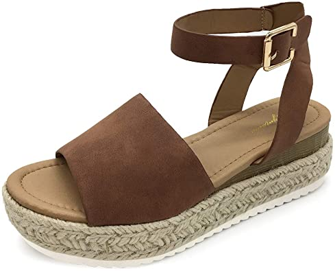 Amazon.com | LUFFYMOMO Women's Platform Ankle Strap Sandals Open Toe  Studded Wedge Summer Sandals | Platforms & Wedges
