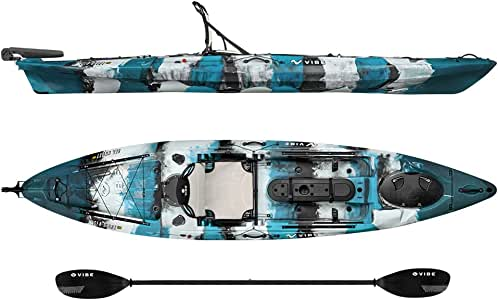 Vibe Kayaks Sea Ghost 130 13 Foot Angler - Single Person, Sit On Top Fishing Kayak with Paddle and Dual Position Hero Seat