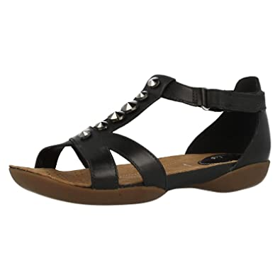 ba8a4f316 Clarks Ladies T-Bar Flat Sandals Raffi Scent Black Leather Size 5E   Amazon.co.uk  Shoes   Bags