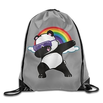 high-quality Rainbow Dabbing Panda Novelty Portable Shopping Travel Shoulders Bag Drawstring Backpack