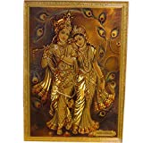 Radha Krishna Desk Dashboard Gold Acrylic Frame Art Hindu Altar Yoga Meditation Accessory Gift