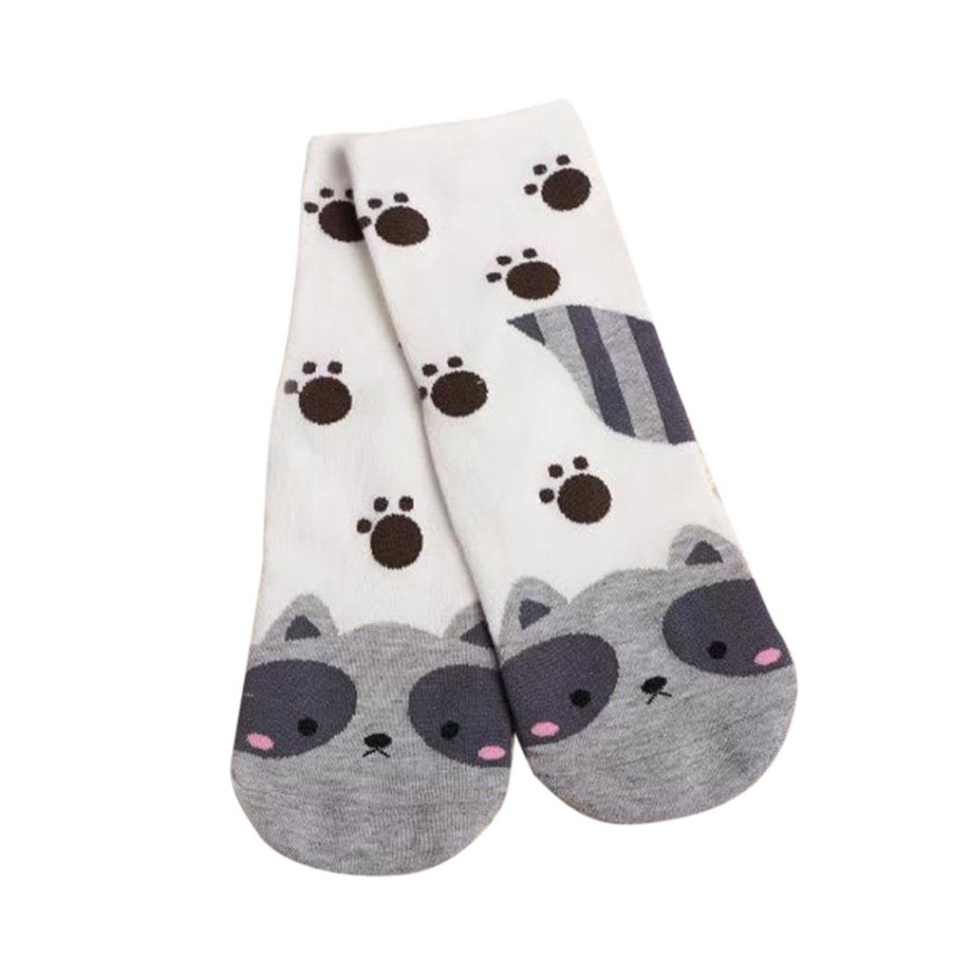 Clearance!Women Socks Ladies Girls Cotton Warm Soft Sox Cute Cartoon Socks (white)