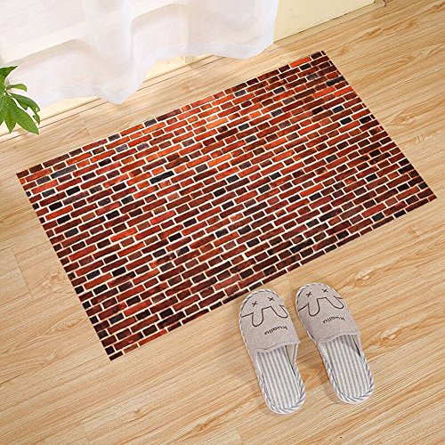 - JANNINSE Rustic Wall With Door Mat Bricks Grunge Style Wall Pattern, Outdoor Indoor Rug For Terraces, Kitchen Bathroom, Water Absorption, Garage, Patio, Heavy Traffic Area, 23.6X15.7 Inches