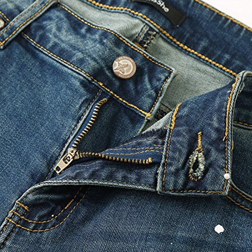 MSSHE Women's Plus Size Printed Cuffed Denim Shorts by MSSHE (Image #6)