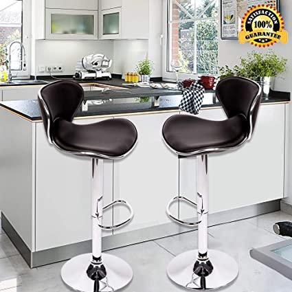 Adjustable Bar Stools Counter Black Modern PU Leather Hydraulic Height  Swivel Barstools with Back 330 Capacity Home Dining Kitchen Pub Chairs Set  of 2