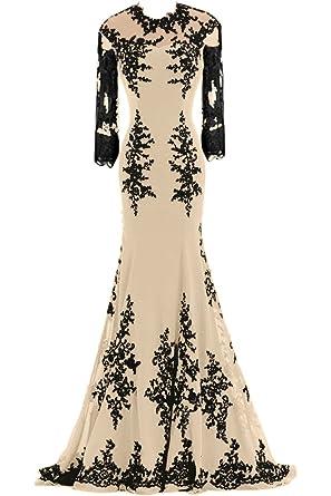 Sunvary Elegant Neu Chiffon 2016 Lang Steine Abendkleid Ballkleider  -32-Champagner-Langarm