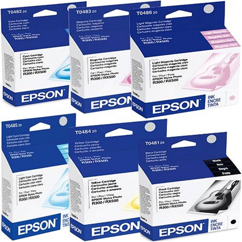 Epson T048 (T048120-T048620) OEM Genuine Inkjet/Ink Cartridges Combo for Epson Stylus Photo Inkjet Printers, Pack of -