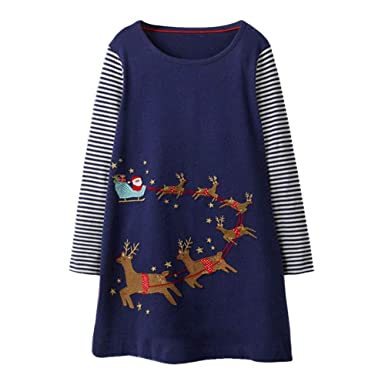 5567470630605 Orcbee 💗 Toddler Baby Girls Long Sleeve Stripe Deer Christmas Print Dress  Outfits Clothes (