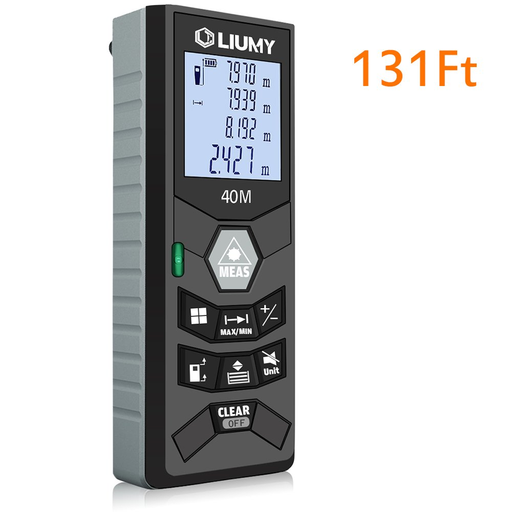 Laser Distance Meter Liumy 131 Ft Rangefinder LCD Backlit Handheld Measuring Device Level and Mute Functions for Single distance Measurement Continuous Measurement Area Pythagorean Modes