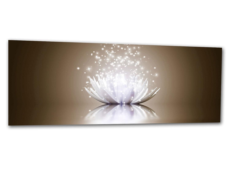 KD Dsign+ XXL Glasbild AG312500397 MURAL LOTUS EFFEKT NUDE 125 x 50 cm/WANDBILD Deco Glass/Handmade