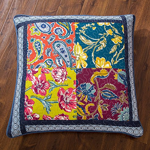 DaDa Bedding Bohemian Euro Sham - Quilted Patchwork Midnight Ocean Blue - Bright Vibrant Multi-Colorful - Navy Blue Floral Paisley - 26