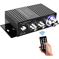 Wireless Bluetooth Stereo Mini Amplifier - 100W Dual Channel Sound Power Audio Receiver USB, AUX for Home Speakers with…