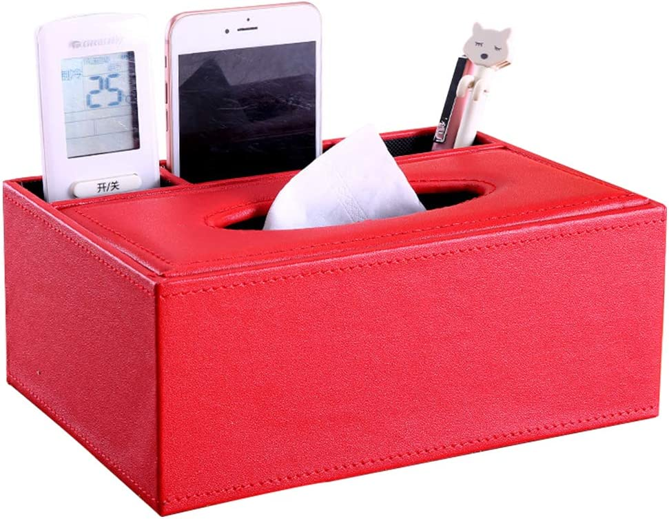 Spachy Tissue Box with Desk Organizer PU Leather Tissue Holder with Remote Control Holder Desk Supplies Organisers Storage Boxes for Home and Office Use
