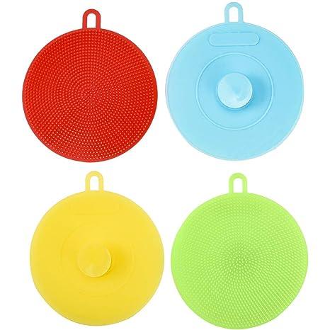 Irich 5 Pack Antibakterielle Silikon Schwamm, Food Grade Umweltfreundliche Spülbürsten für Obst Gemüse Küche Bad Haushalt