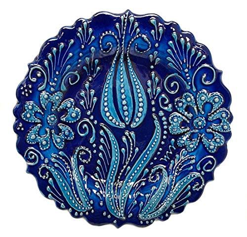 (Turkish Ceramics~Hand Painted Ceramic Plate-D:7 inch-Single Tulip)