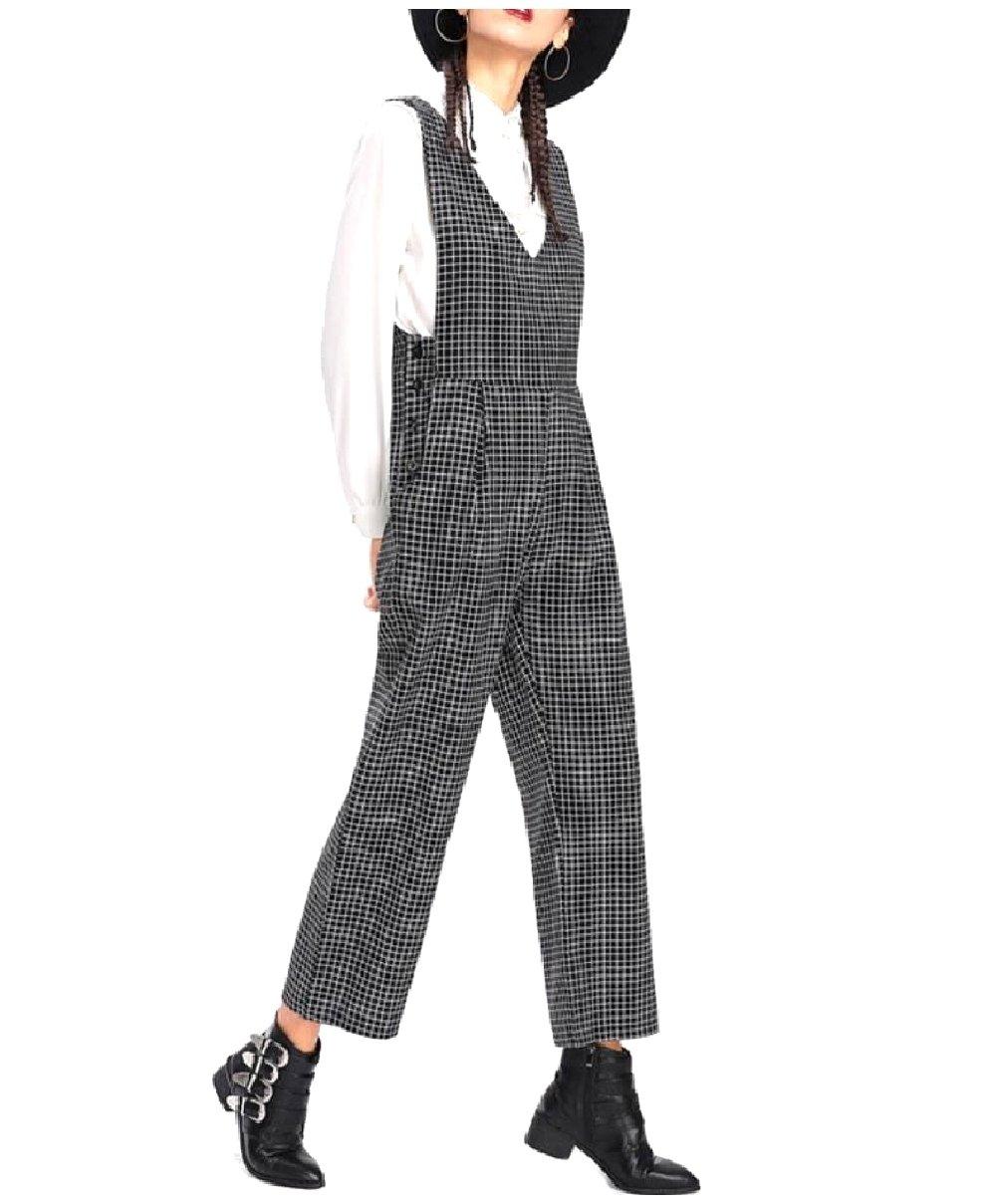 MLG Women's Plaid Vogue Palazzo Fine Cotton Overalls Jumpsuit Pants Dark Grey S