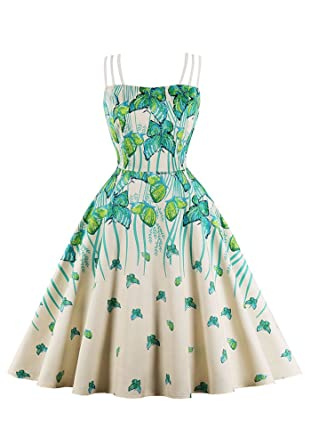 9070f30946 Womens Vintage Dress Printed Butterfly A line Dress Sling Green Cocktail  Dress at Amazon Women s Clothing store