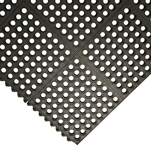 Rubber-Cal 03-122-INT-BK''Dura-Chef Commercial Interlock'' Anti-Fatigue Rubber Matting, 36'' x 36'' x 1/2'', Black by Rubber-Cal (Image #2)