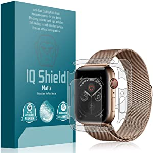 IQ Shield Matte Full Body Skin Compatible with Apple Watch Series 4 (44mm)(3-Pack) + Anti-Glare (Full Coverage) Screen Protector and Anti-Bubble Film