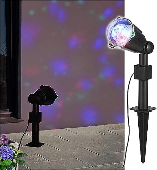 LED Party Foco rotativos Efecto Rojo Verde Azul 220 V Luz efectos foco: Amazon.es: Jardín