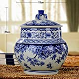 Blue & White Fine Porcelain Jar for Cookie Candy, Home & Office Decor Accent