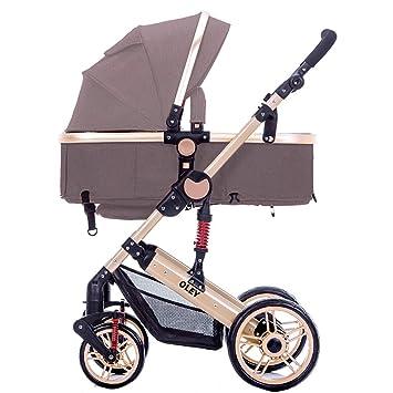 Baby Stroller Carrito de bebé Puede Sentarse o mentir el Cochecito de bebé niño Chocar el Carrito de bebé portátil Plegable a Prueba de choques (Color ...