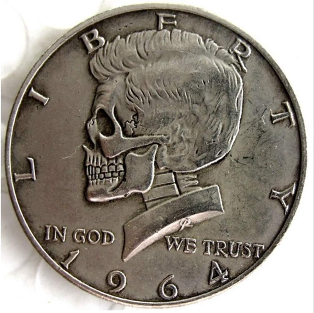Rare Antique USA United States 1964 Kennedy Half Dollar Skull Zombie Skeleton Cool Silver Color Coin