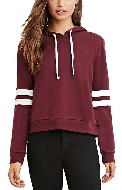 newest 13300 2b11e SMITHROAD Damen Sweatshirt mit Kapuze und Kordelzug Kurzer Hoodie  Kapuzenpullover Hooded Sweater Weinrot XS-L