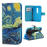 Motorola Moto G (3rd Generation) Case -MOLLYCOOCLE®[Starry Sky] Stand Wallet Purse Credit Card ID Holders Magnetic Design Premium PU Leather Ultra Slim Fit Flip Folio Cover for Moto G3