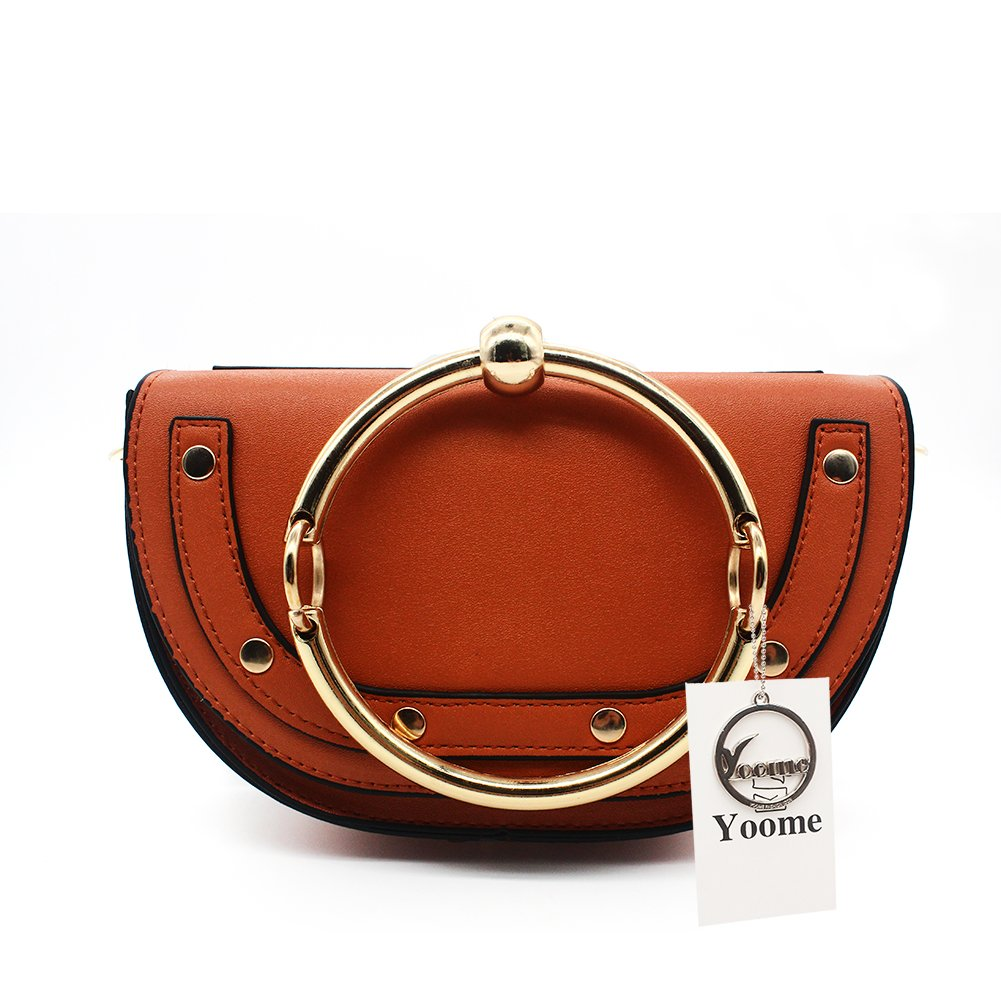 Yoome Elegant Rivets Punk Style Circular Ring Handle Handbags Messenger Crossbody Bags For Girls - Brown.Lune