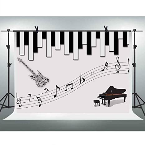 Amazon com : FHOZN 10x7ft Musical Melody Backdrop Piano