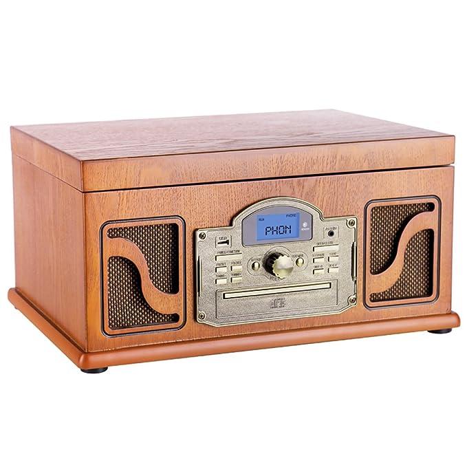 Lauson Tocadiscos Bluetooth de Madera, Función Encoding, CD ...