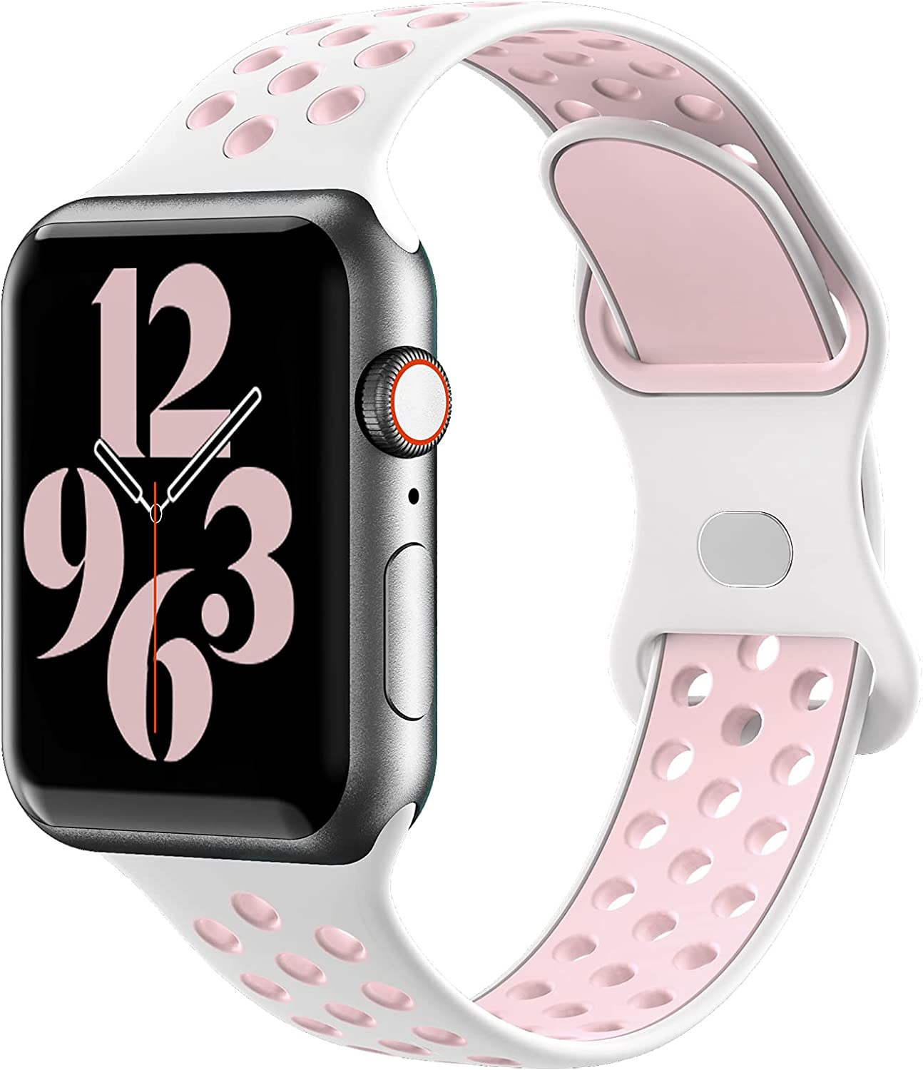 Gleiven Compatible with Apple Watch Band 38mm 40mm 42mm 44mm,Breathable Soft Silicone Sport Replacement Strap Women Men For iWatch Series 6/5/4/3/2/1/SE.