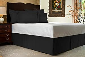 Brand New 3 Pc Bedskirt 700 TC Black Striped Short Queen Size With 14