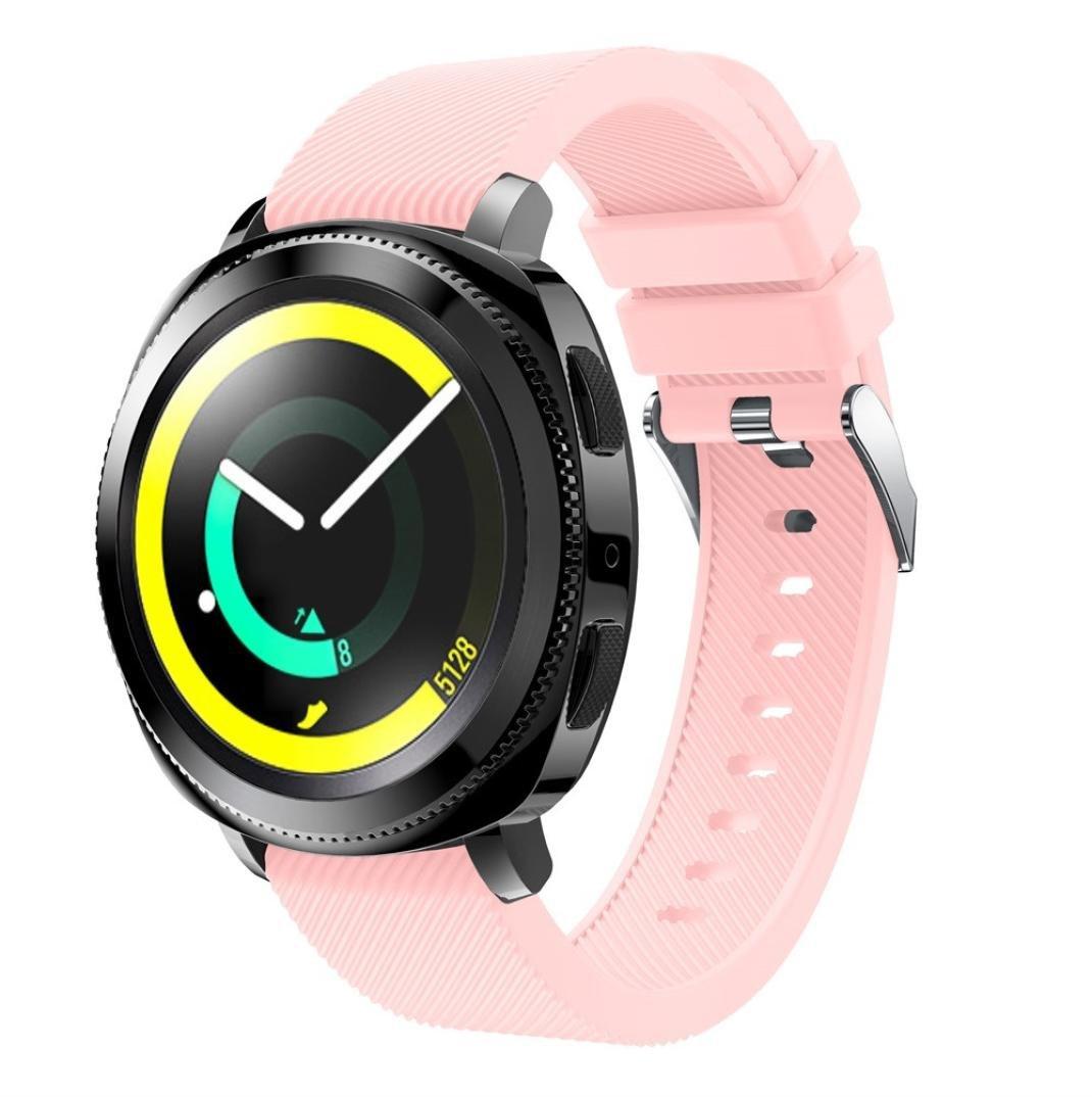For Samsung Gearスポーツ腕時計リストバンドソフトシリコン交換ブレスレット手首ストラップクイックリリース腕時計バンド ピンク ピンク B077YJ6TF3