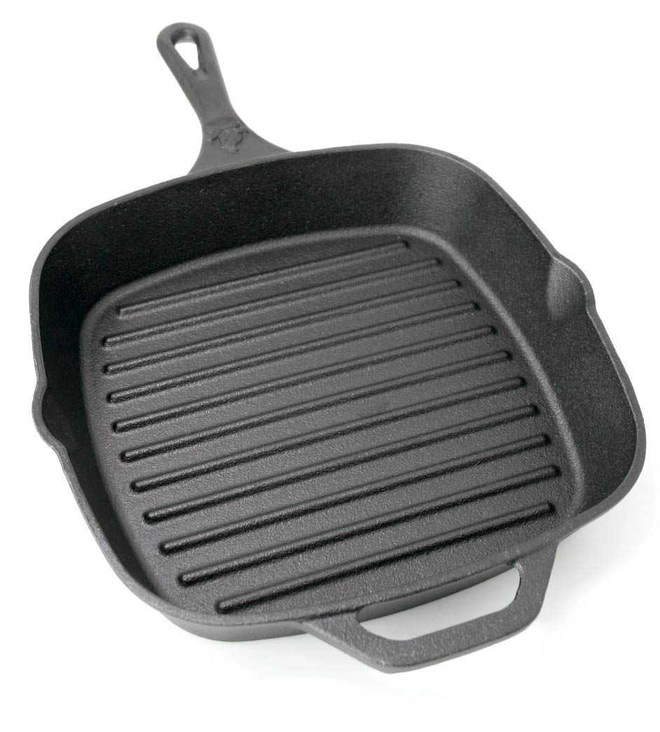 Backcountry Cast Iron 10 Medium Square Grill Pan Pre-Seasoned for Non-Stick Like Surface, Cookware Range Oven Broiler Grill Safe, Kitchen Skillet Restaurant Chef Quality
