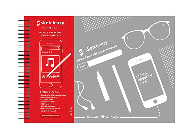 sketcheazy mobile app ui ux design template a4 sketchbook amazon in