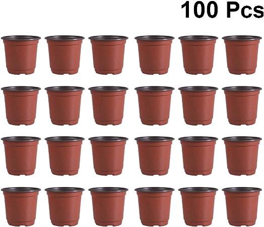 100x Square Multicolour Nursery Pots Plastic Plants Pot Flower