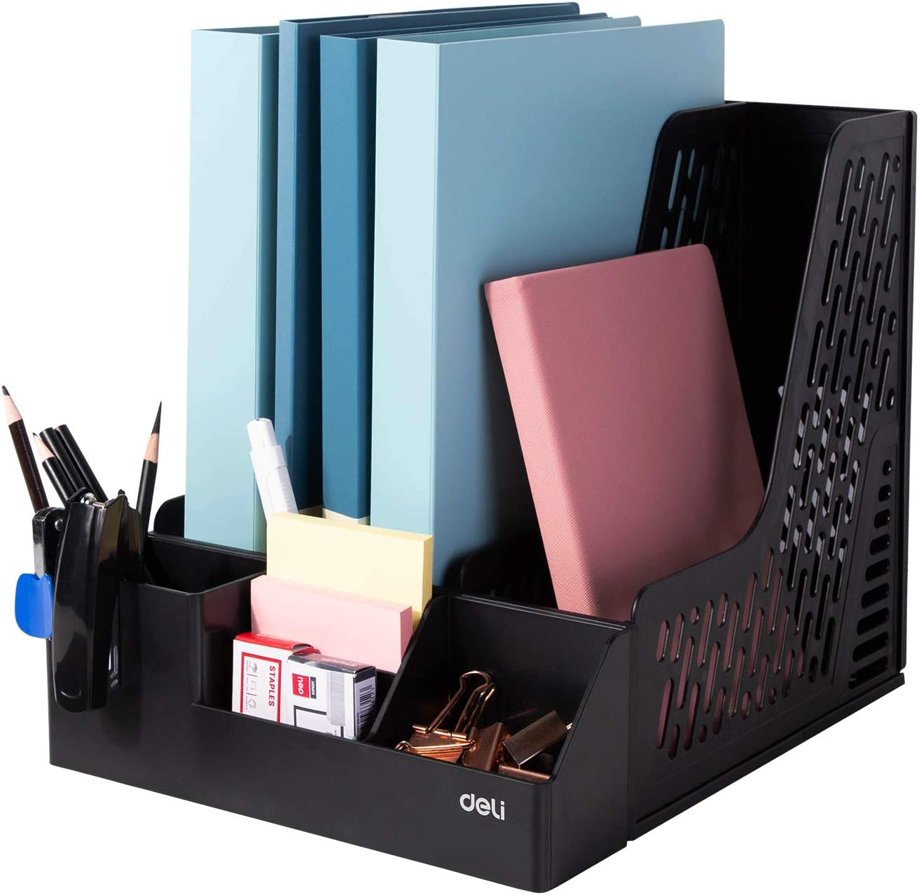 Deli Magazine File Book Holder Desktop Organizer Vertical Folder with Pencil Holder and Storage Baskets for Desk Accessories, 3 Compartments, Black : Office Products